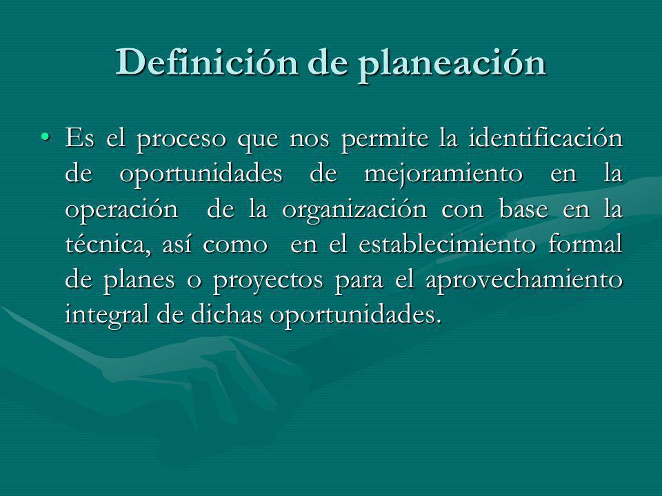 Definición de planeación Es el proceso que nos permite la identificación de oportunidades de mejoramiento en la operación de la organización con base