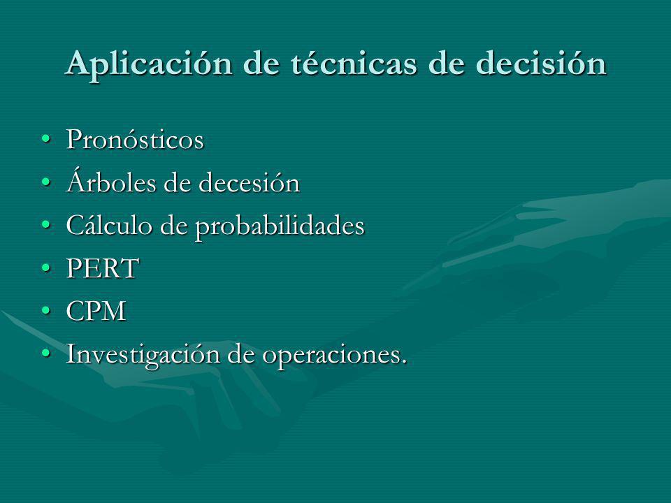 Aplicación de técnicas de decisión PronósticosPronósticos Árboles de decesiónÁrboles de decesión Cálculo de probabilidadesCálculo de probabilidades PE