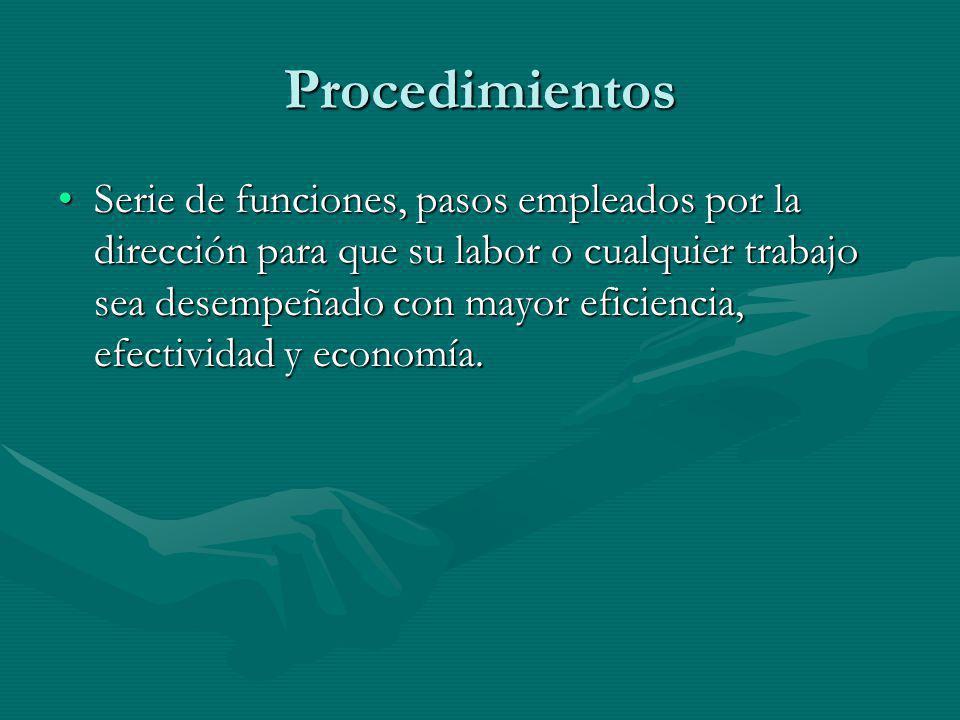 Procedimientos Serie de funciones, pasos empleados por la dirección para que su labor o cualquier trabajo sea desempeñado con mayor eficiencia, efecti