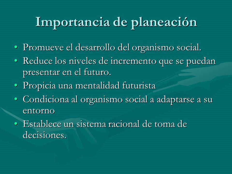 Importancia de planeación Promueve el desarrollo del organismo social.Promueve el desarrollo del organismo social. Reduce los niveles de incremento qu