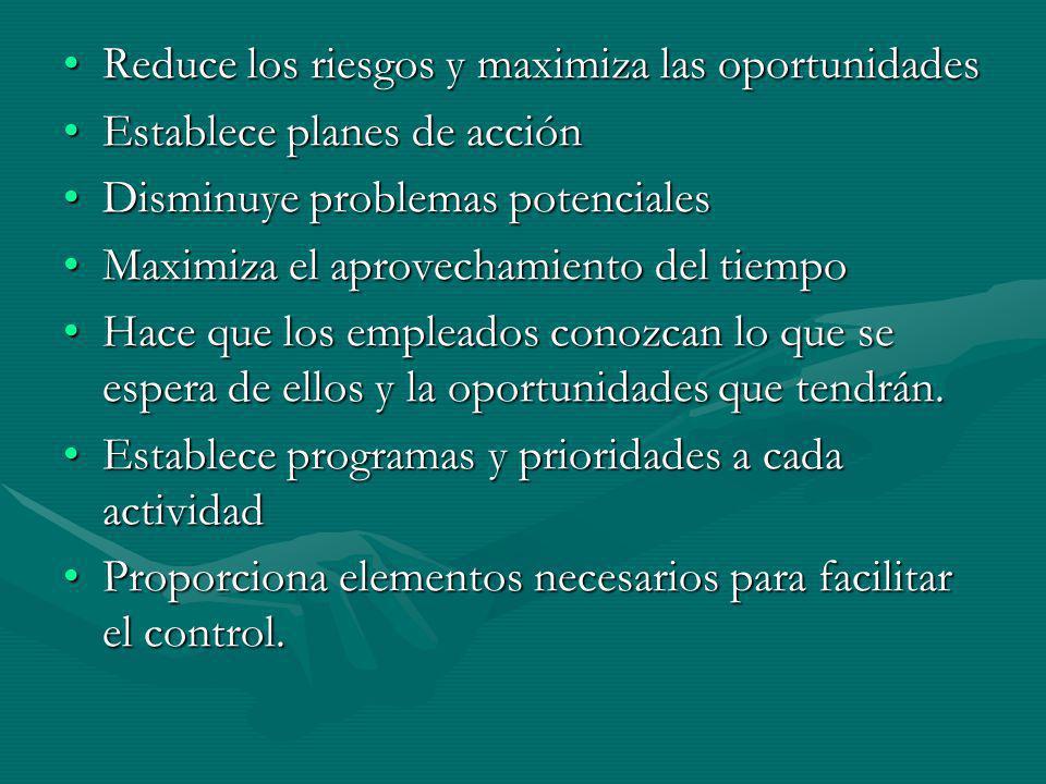 Reduce los riesgos y maximiza las oportunidadesReduce los riesgos y maximiza las oportunidades Establece planes de acciónEstablece planes de acción Di