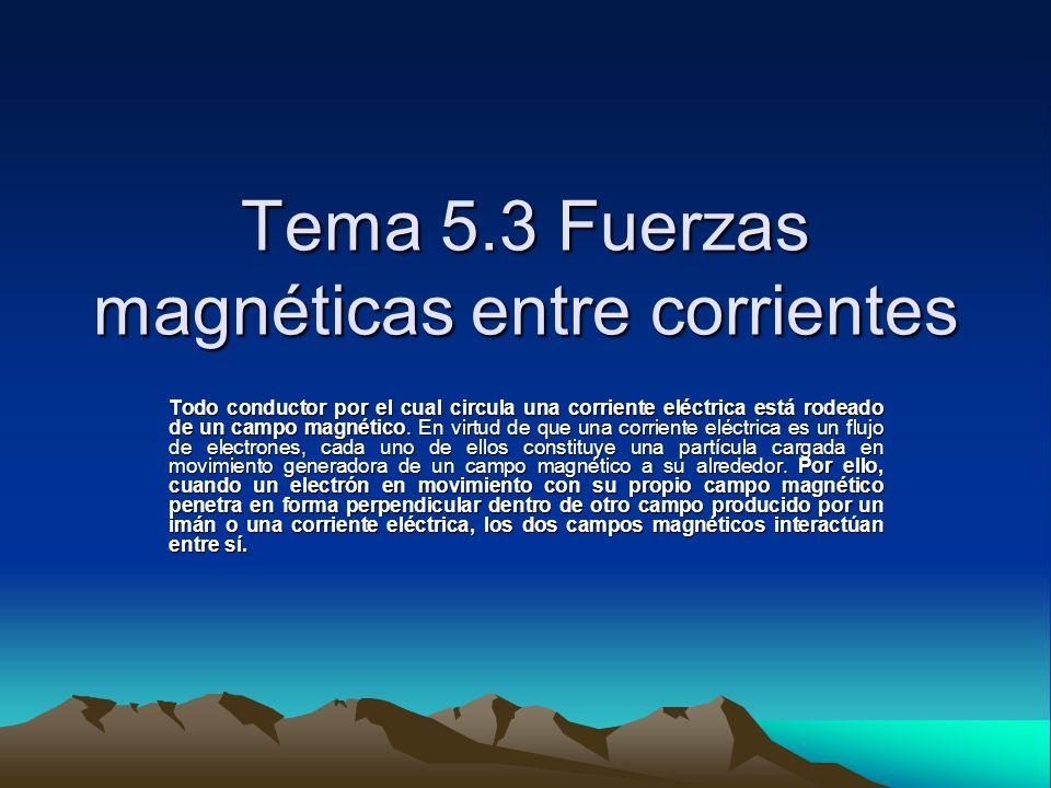 Tema 5.3 Fuerzas magnéticas entre corrientes Todo conductor por el cual circula una corriente eléctrica está rodeado de un campo magnético. En virtud