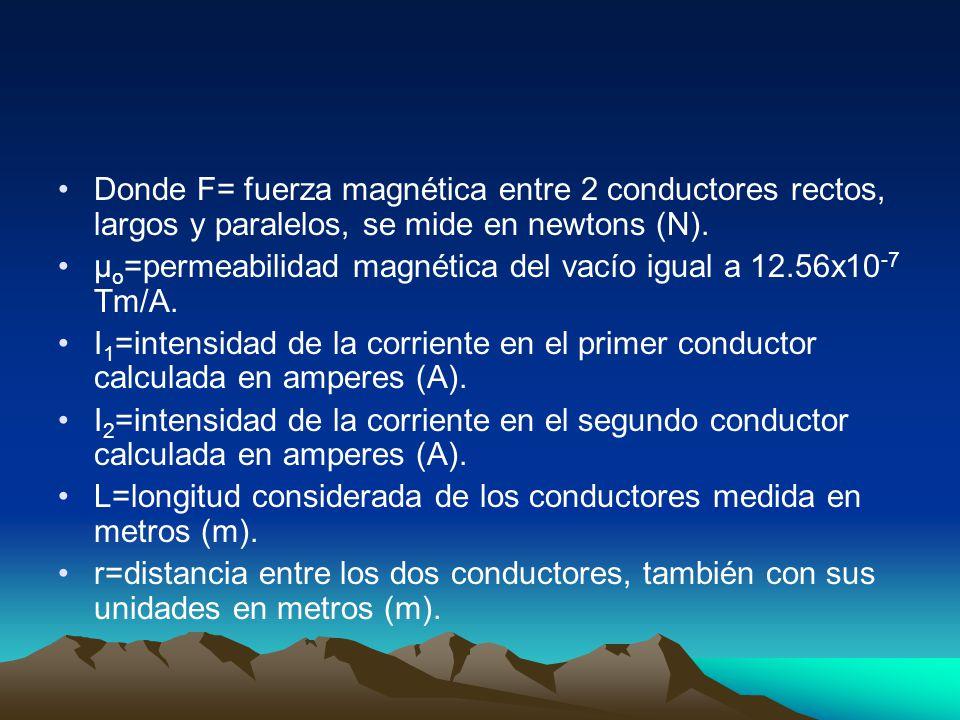 Donde F= fuerza magnética entre 2 conductores rectos, largos y paralelos, se mide en newtons (N). μ o =permeabilidad magnética del vacío igual a 12.56