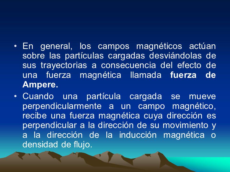 En general, los campos magnéticos actúan sobre las partículas cargadas desviándolas de sus trayectorias a consecuencia del efecto de una fuerza magnét