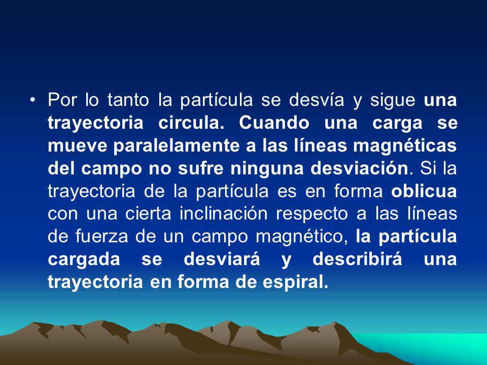 Por lo tanto la partícula se desvía y sigue una trayectoria circula. Cuando una carga se mueve paralelamente a las líneas magnéticas del campo no sufr