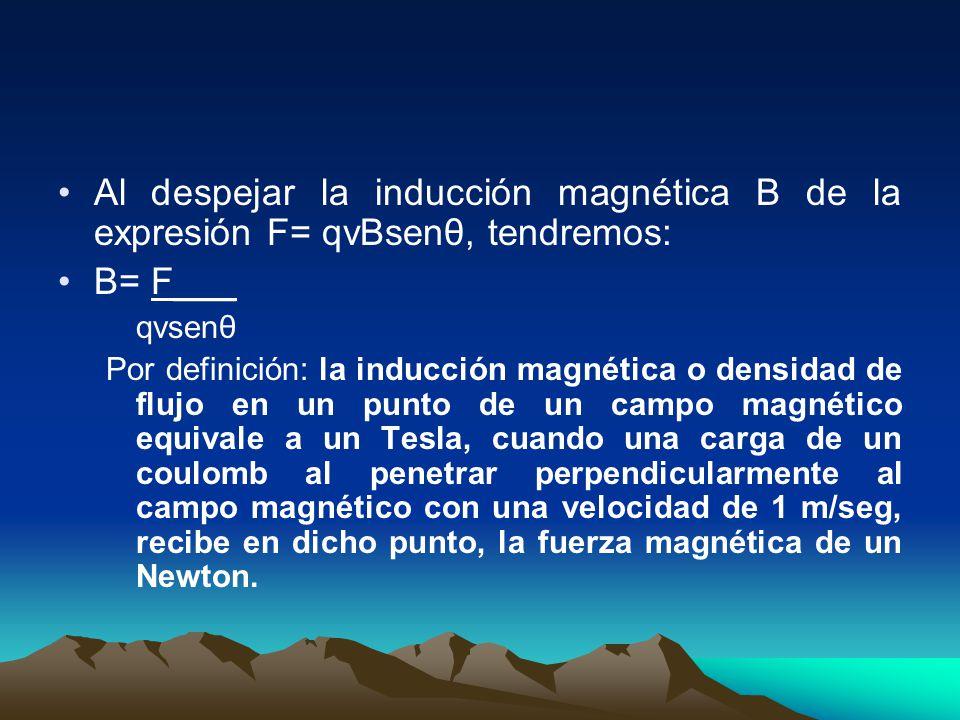 Al despejar la inducción magnética B de la expresión F= qvBsenθ, tendremos: B= F___ qvsenθ Por definición: la inducción magnética o densidad de flujo