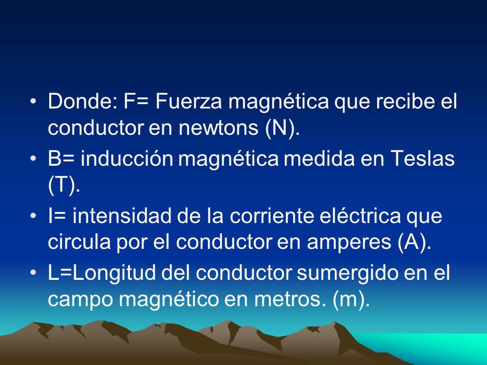 Donde: F= Fuerza magnética que recibe el conductor en newtons (N). B= inducción magnética medida en Teslas (T). I= intensidad de la corriente eléctric