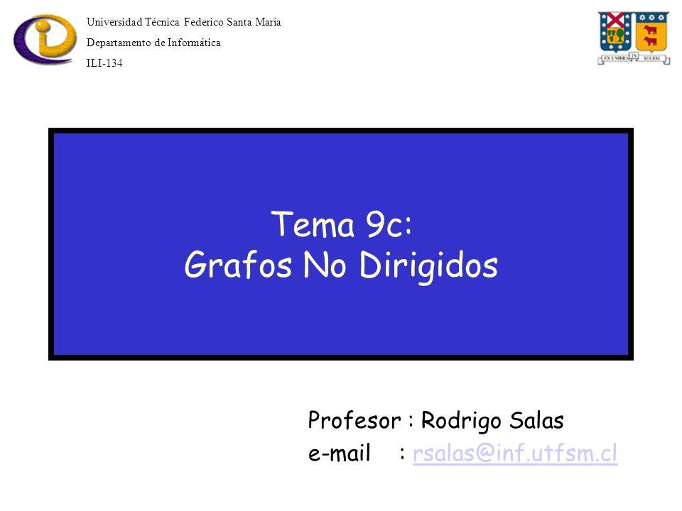 Tema 9c: Grafos No Dirigidos Profesor : Rodrigo Salas e-mail : rsalas@inf.utfsm.clrsalas@inf.utfsm.cl Universidad Técnica Federico Santa María Departamento de Informática ILI-134