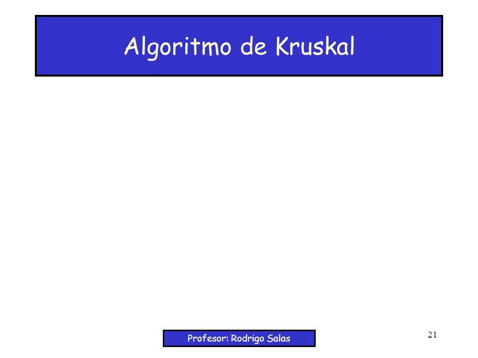 Profesor: Rodrigo Salas 21 Algoritmo de Kruskal