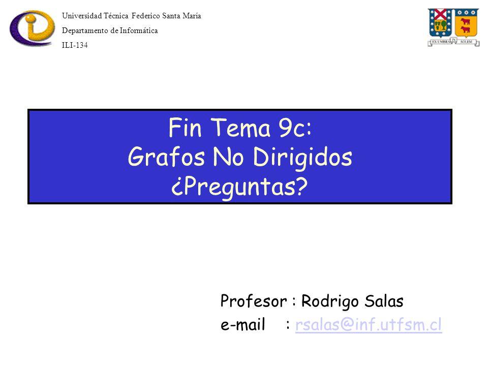 Universidad Técnica Federico Santa María Departamento de Informática ILI-134 Fin Tema 9c: Grafos No Dirigidos ¿Preguntas.