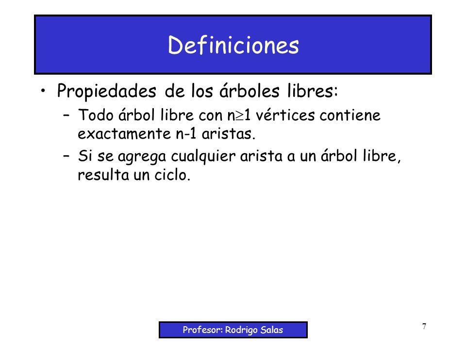 Profesor: Rodrigo Salas 7 Definiciones Propiedades de los árboles libres: –Todo árbol libre con n 1 vértices contiene exactamente n-1 aristas.