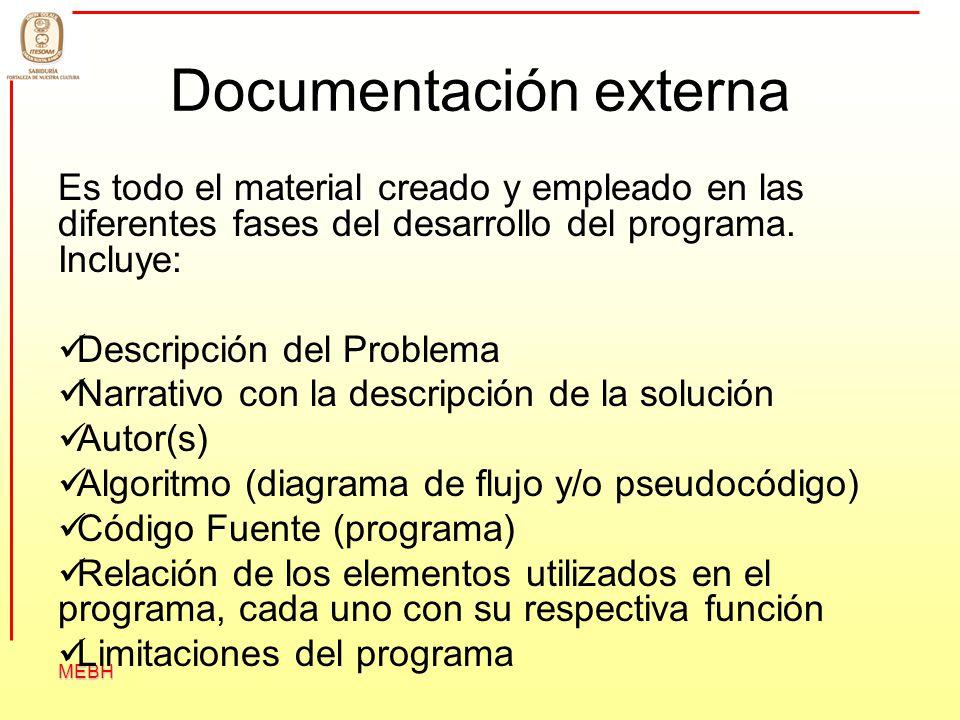 MEBH Documentación externa Es todo el material creado y empleado en las diferentes fases del desarrollo del programa. Incluye: Descripción del Problem