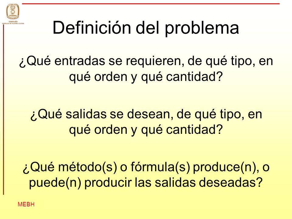 MEBH Definición del problema ¿Qué entradas se requieren, de qué tipo, en qué orden y qué cantidad? ¿Qué salidas se desean, de qué tipo, en qué orden y