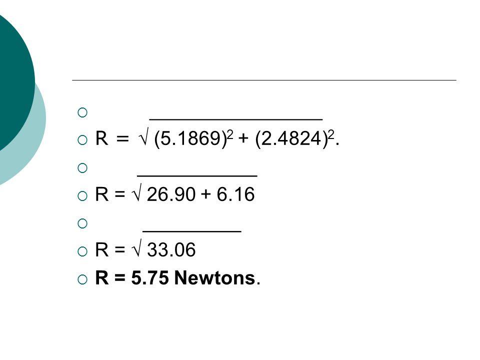 ______________ R = (5.1869) 2 + (2.4824) 2. ___________ R = 26.90 + 6.16 _________ R = 33.06 R = 5.75 Newtons.