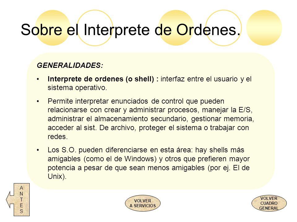 Sobre el Interprete de Ordenes. ANTESANTES VOLVER CUADRO GENERAL VOLVER A SERVICIOS GENERALIDADES: Interprete de ordenes (o shell) : interfaz entre el
