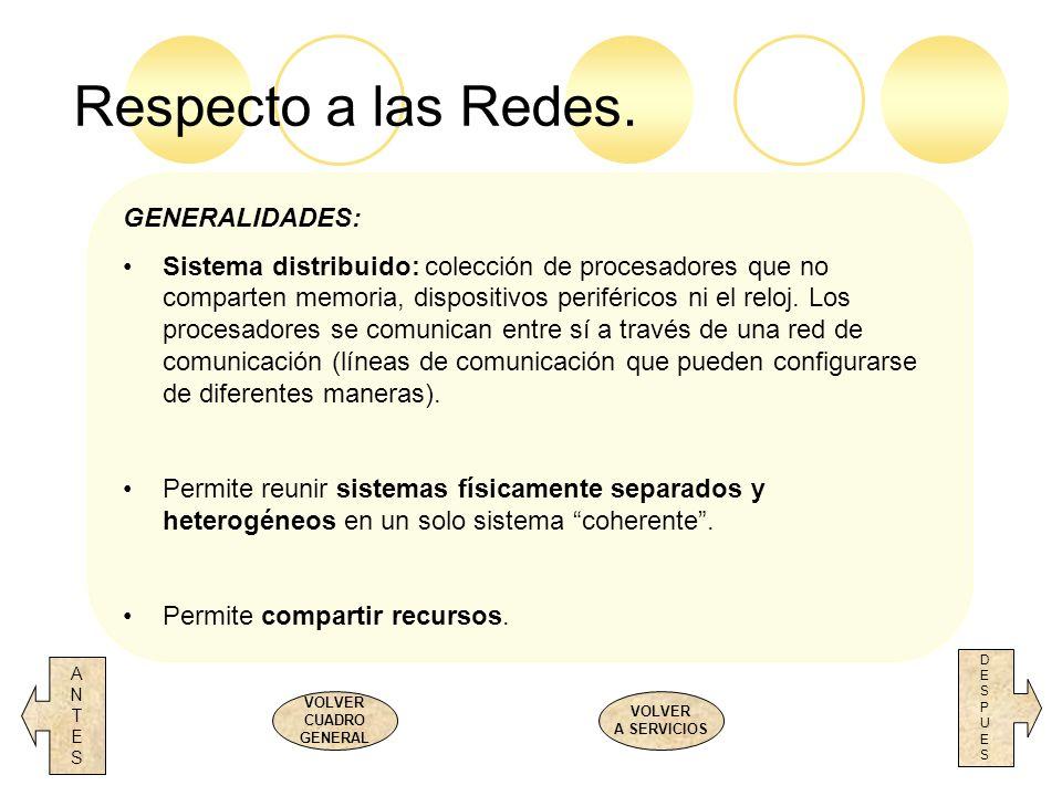 Respecto a las Redes. ANTESANTES DESPUESDESPUES VOLVER CUADRO GENERAL VOLVER A SERVICIOS GENERALIDADES: Sistema distribuido: colección de procesadores