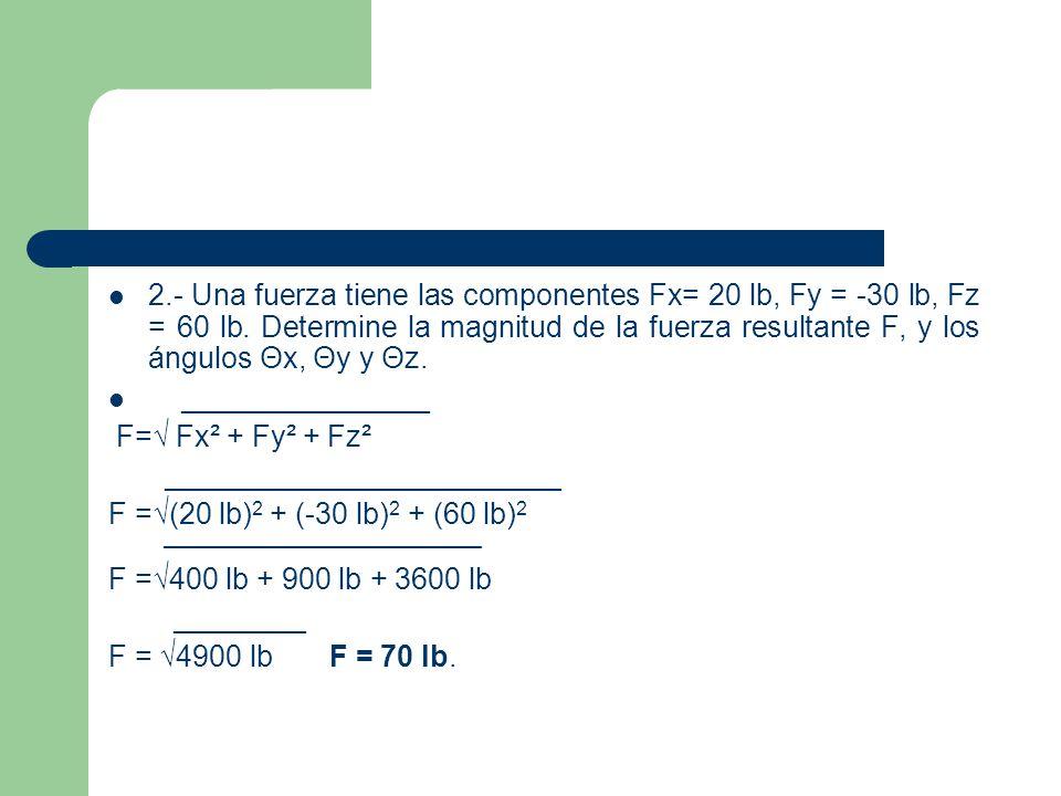 b) cos θx = Fx/F θx = 20 lb/70 lb = 0.2857.θx = cos -1 0.2857 = 73.4°.