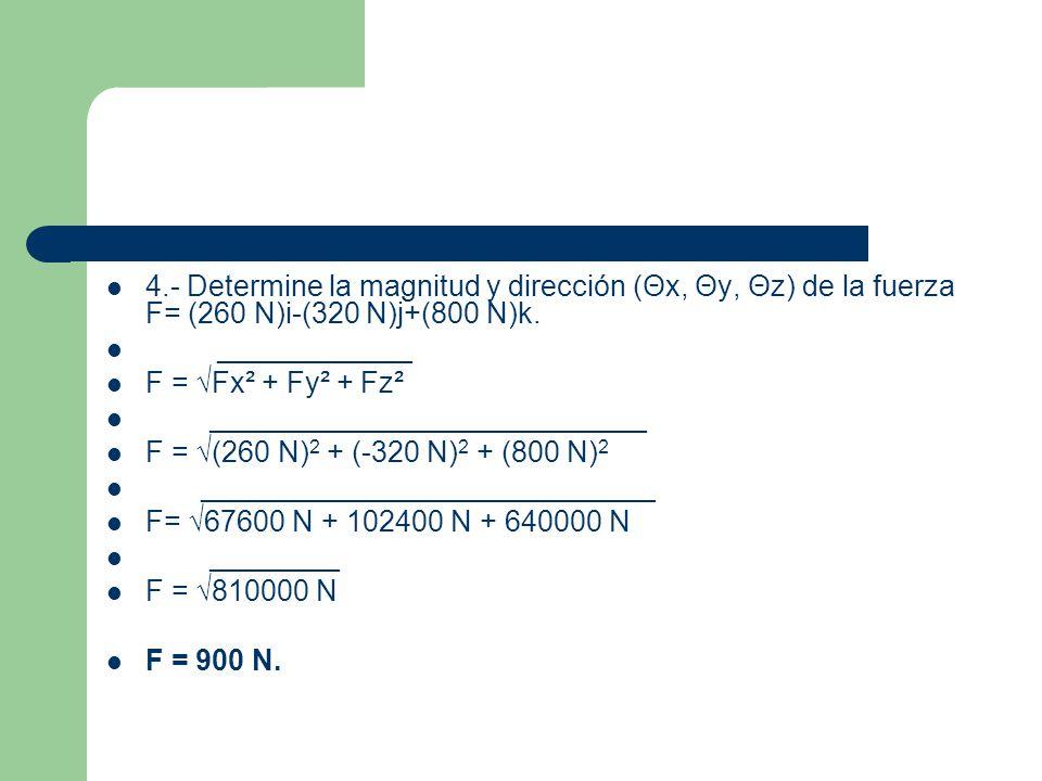 b) cos θx = Fx/F θx = 260 N/900 N = 0.2888.θx = cos -1 0.2888 = 73.2°.