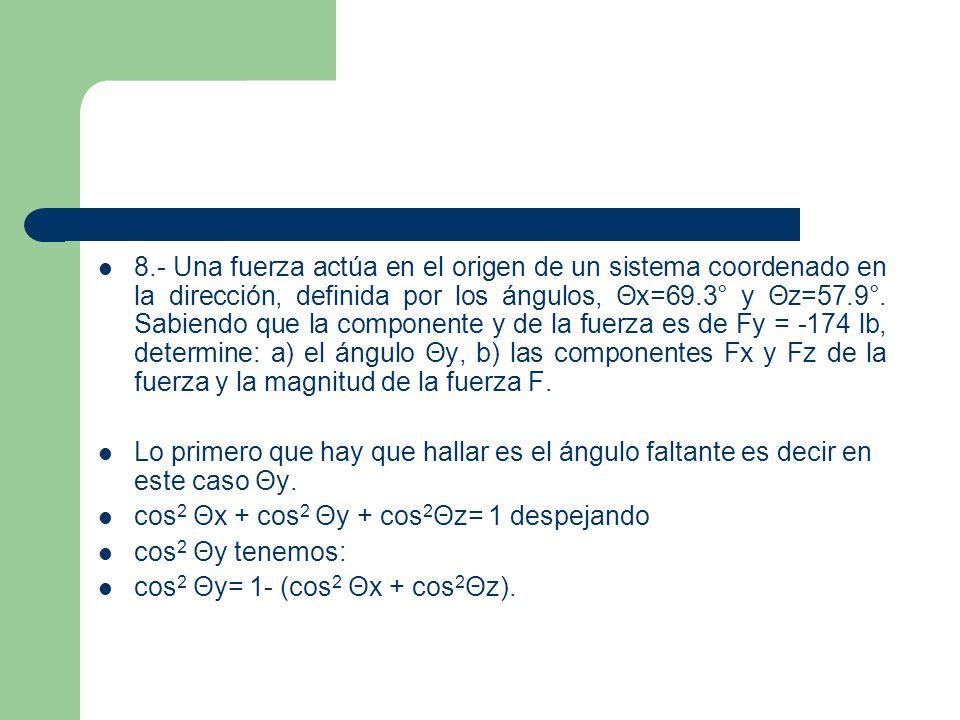 Sustituyendo valores: cos 2 Θy = 1 - (cos 2 69.3°+ cos 2 57.9°) cos 2 Θy= 1 - (0.1249 + 0.2823)= 1-(0.4072)= 0.5928.
