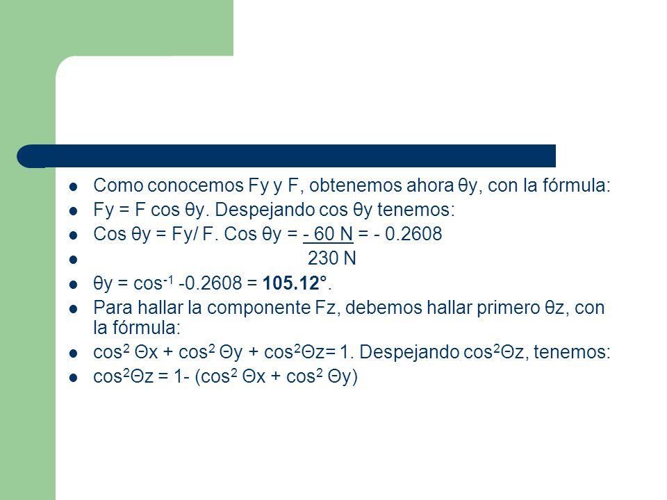 Sustituyendo valores tenemos: cos 2 Θz = 1- (cos 2 32.5° + cos 2 105.12°) cos 2 Θz = 1- (0.7113 + 0.0680) cos 2 Θz = 1-0.7793 = 0.2207.