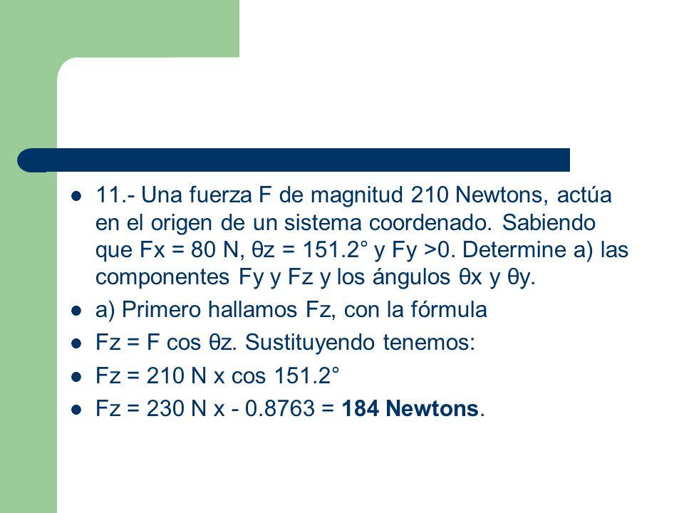 Como conocemos Fx y F, obtenemos ahora θx, con la fórmula: Fx = F cos θx.