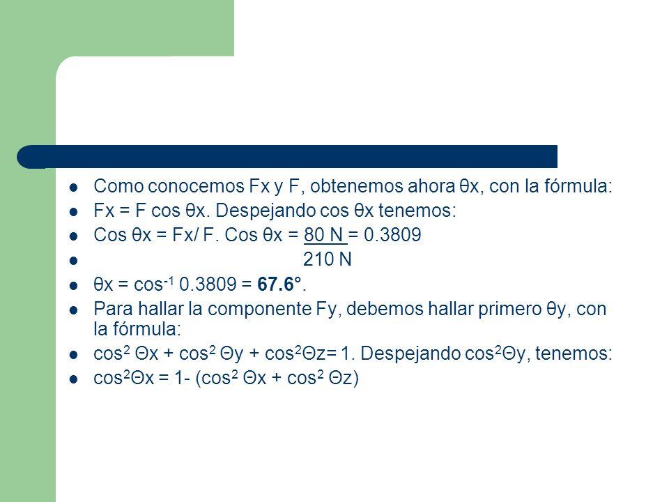 Sustituyendo valores tenemos: cos 2 Θy = 1- (cos 2 67.6° + cos 2 151.2°) cos 2 Θy = 1- (0.1452+ 0.7679) cos 2 Θy = 1-0.9131 = 0.0869.