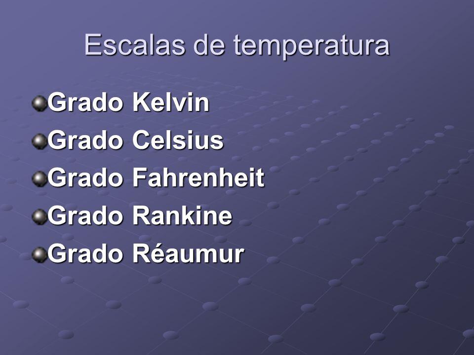 Escalas de temperatura Grado Kelvin Grado Celsius Grado Fahrenheit Grado Rankine Grado Réaumur