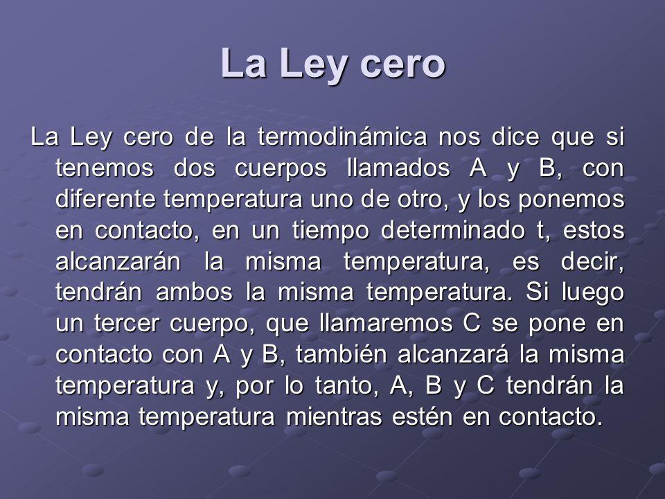 La Ley cero La Ley cero de la termodinámica nos dice que si tenemos dos cuerpos llamados A y B, con diferente temperatura uno de otro, y los ponemos e