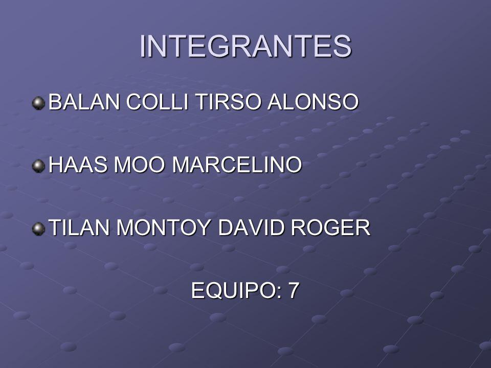 INTEGRANTES BALAN COLLI TIRSO ALONSO HAAS MOO MARCELINO TILAN MONTOY DAVID ROGER EQUIPO: 7