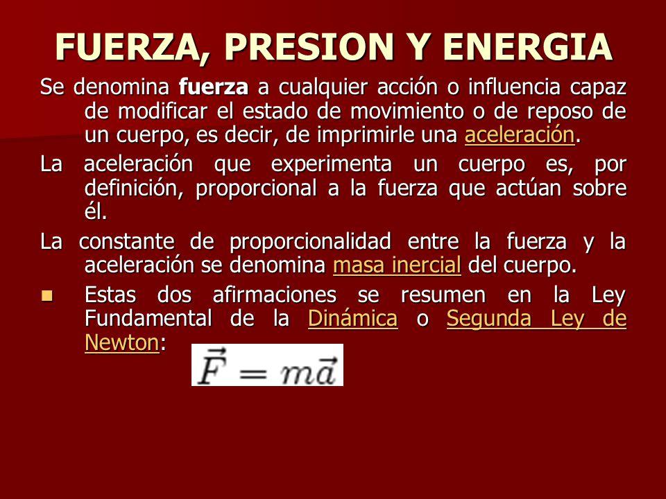 FUERZA, PRESION Y ENERGIA Se denomina fuerza a cualquier acción o influencia capaz de modificar el estado de movimiento o de reposo de un cuerpo, es decir, de imprimirle una aceleración.