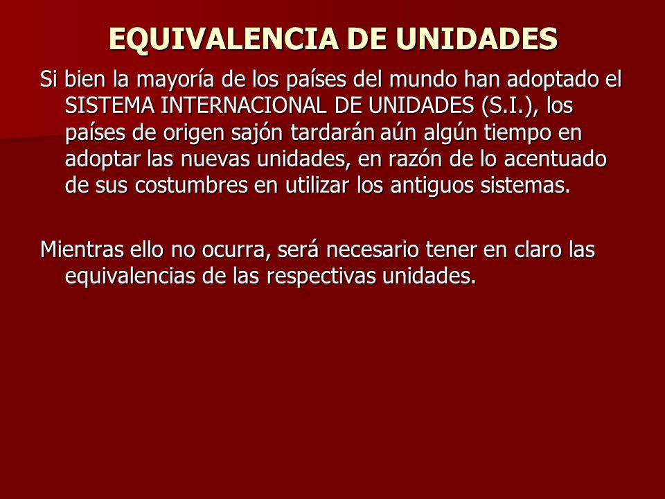 EQUIVALENCIA DE UNIDADES Si bien la mayoría de los países del mundo han adoptado el SISTEMA INTERNACIONAL DE UNIDADES (S.I.), los países de origen saj