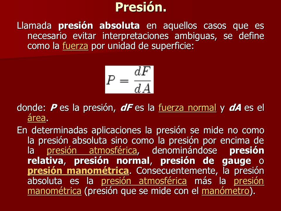 Presión. Llamada presión absoluta en aquellos casos que es necesario evitar interpretaciones ambiguas, se define como la fuerza por unidad de superfic