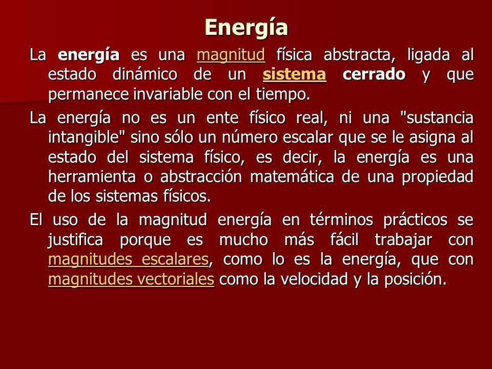 Energía La energía es una magnitud física abstracta, ligada al estado dinámico de un sistema cerrado y que permanece invariable con el tiempo. magnitu