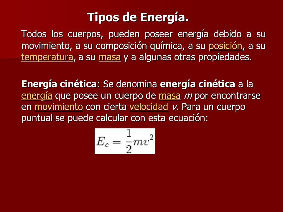 Tipos de Energía. Todos los cuerpos, pueden poseer energía debido a su movimiento, a su composición química, a su posición, a su temperatura, a su mas