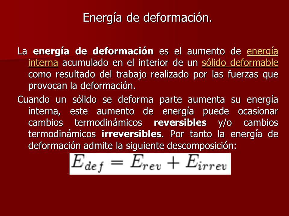 Energía de deformación. La energía de deformación es el aumento de energía interna acumulado en el interior de un sólido deformable como resultado del