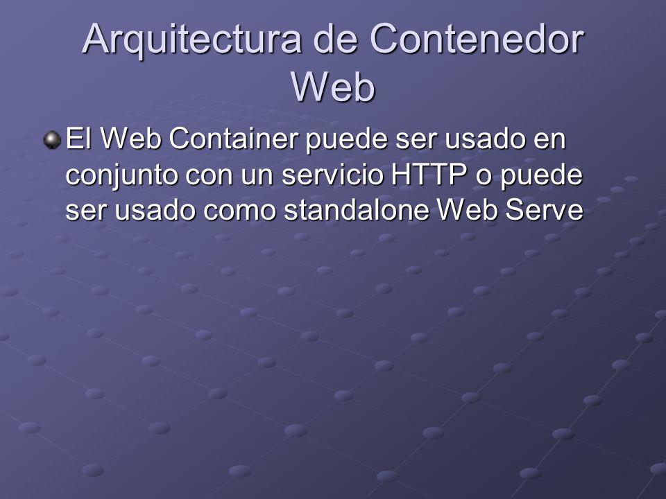 Arquitectura de Contenedor Web El Web Container puede ser usado en conjunto con un servicio HTTP o puede ser usado como standalone Web Serve