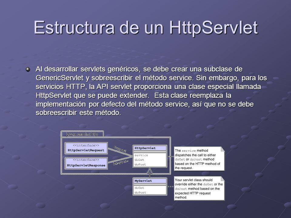 Estructura de un HttpServlet Al desarrollar servlets genéricos, se debe crear una subclase de GenericServlet y sobreescribir el método service. Sin em