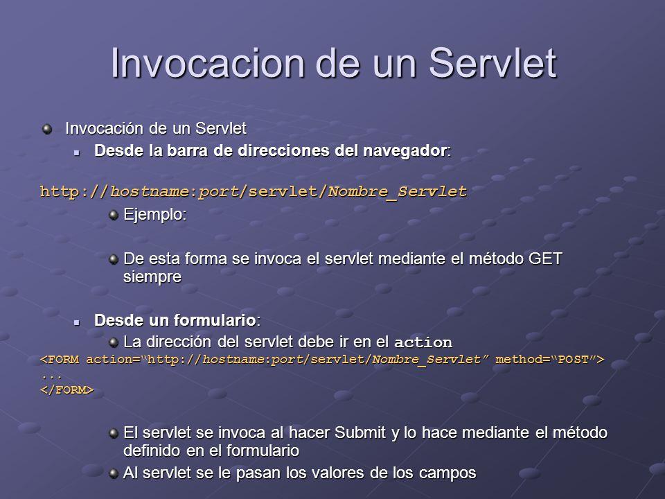 Invocacion de un Servlet Invocación de un Servlet Desde la barra de direcciones del navegador: Desde la barra de direcciones del navegador: http://hos