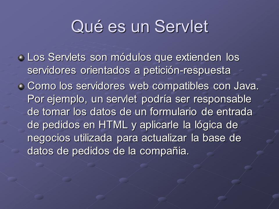 Que es un Servlet Programas en Java que se ejecutan en un servidor HTTP (servidor Web) Actúan como capa intermedia entre: Petición proveniente de un Navegador Web u otro cliente HTTP Petición proveniente de un Navegador Web u otro cliente HTTP Bases de Datos o Aplicaciones en el servidor HTTP Bases de Datos o Aplicaciones en el servidor HTTP
