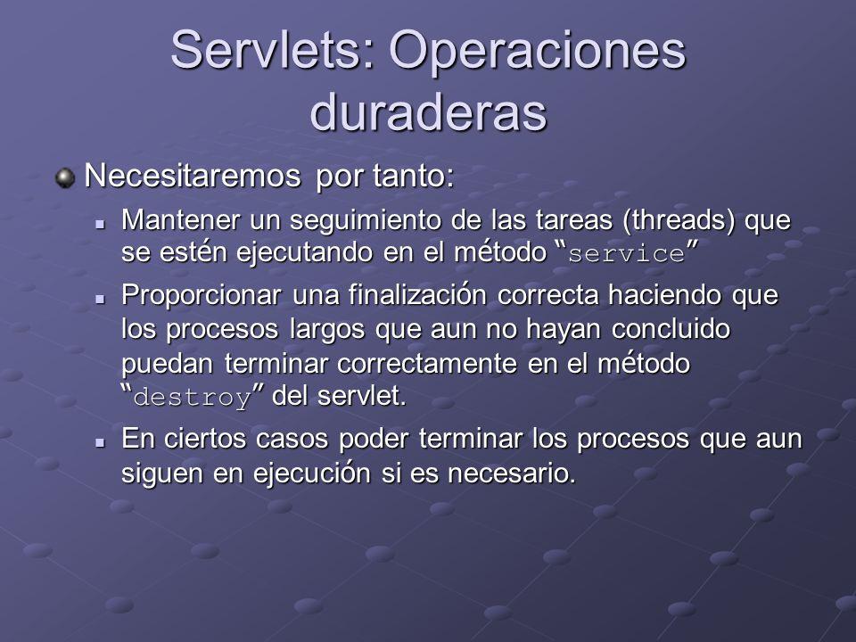 Servlets: Operaciones duraderas Necesitaremos por tanto: Mantener un seguimiento de las tareas (threads) que se est é n ejecutando en el m é todo serv