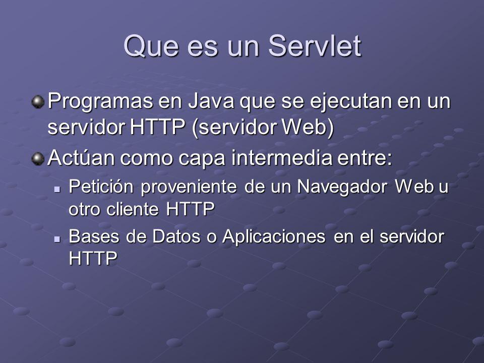 Ejemplo doGet() y doPost() // compile: javac -classpath %TOMCAT_HOME%\common\lib\servlet-api.jar DoGetDoPostServlet.java import javax.servlet.*; import javax.servlet.http.*; import java.io.*; public class DoGetDoPostServlet extends HttpServlet { public void doGet(HttpServletRequest request, public void doGet(HttpServletRequest request, HttpServletResponse response) HttpServletResponse response) throws ServletException, IOException { throws ServletException, IOException { response.setContentType( text/html ); response.setContentType( text/html ); PrintWriter out = response.getWriter(); PrintWriter out = response.getWriter(); out.println( ); out.println( ); out.println( The GET method ); out.println( The GET method ); out.println( ); out.println( ); out.println( The servlet has received a GET.