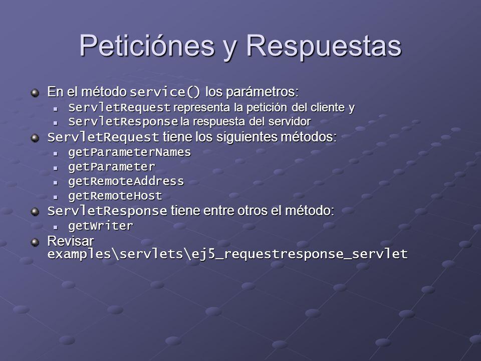 Peticiónes y Respuestas En el método service() los parámetros: ServletRequest representa la petición del cliente y ServletRequest representa la petici