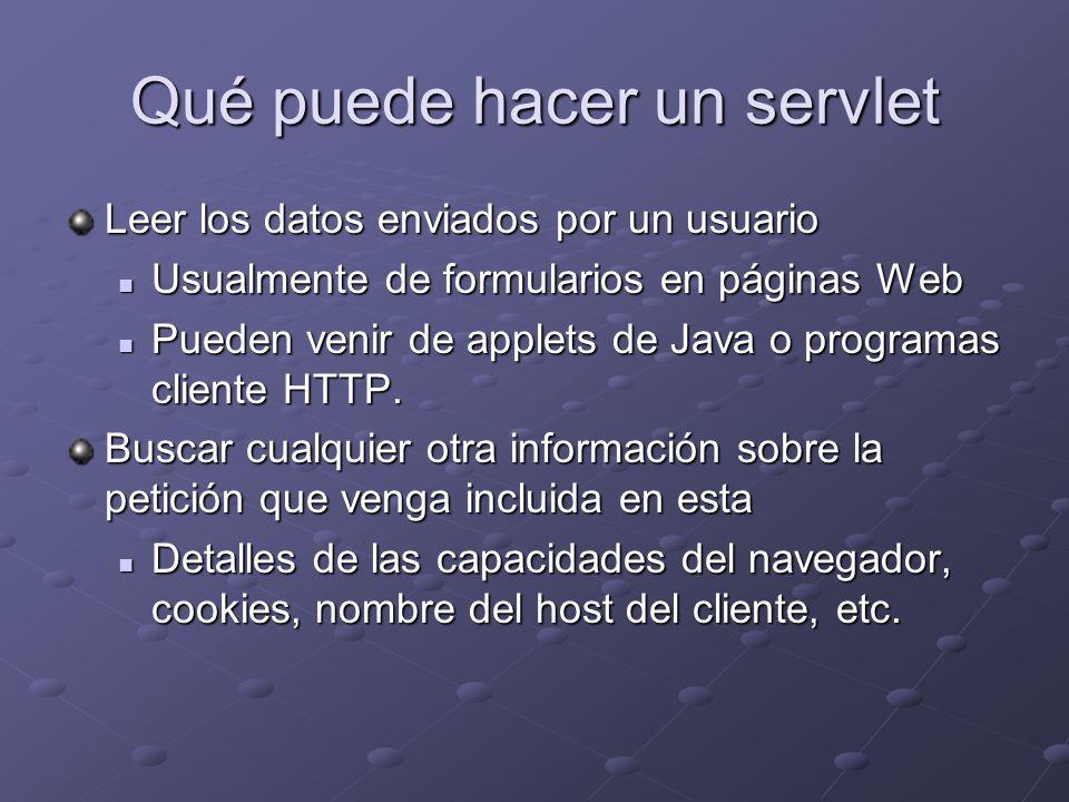 Qué puede hacer un servlet Leer los datos enviados por un usuario Usualmente de formularios en páginas Web Usualmente de formularios en páginas Web Pu