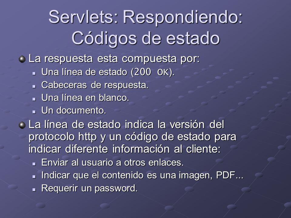 Servlets: Respondiendo: Códigos de estado La respuesta esta compuesta por: Una línea de estado ( 200 OK ). Una línea de estado ( 200 OK ). Cabeceras d