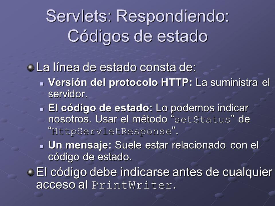 Servlets: Respondiendo: Códigos de estado La línea de estado consta de: Versión del protocolo HTTP: La suministra el servidor. Versión del protocolo H