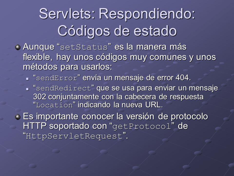 Servlets: Respondiendo: Códigos de estado Aunque setStatus es la manera más flexible, hay unos códigos muy comunes y unos métodos para usarlos: sendEr