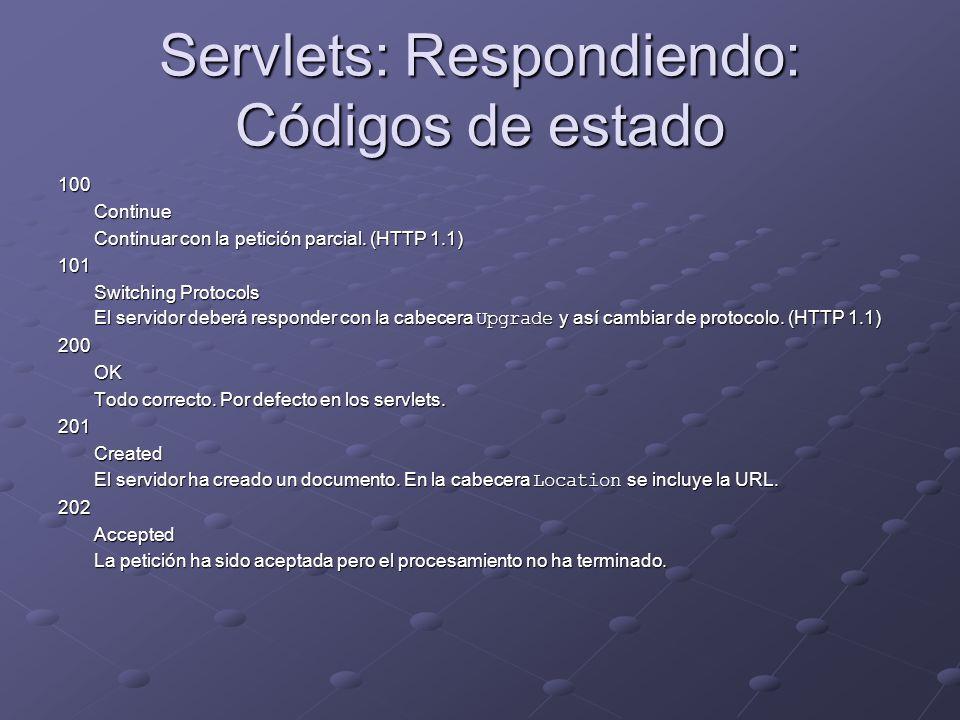 Servlets: Respondiendo: Códigos de estado 100Continue Continuar con la petición parcial. (HTTP 1.1) 101 Switching Protocols El servidor deberá respond