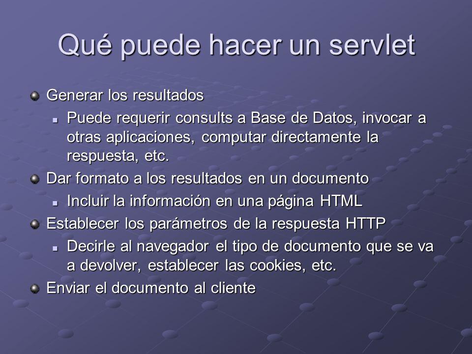 Qué puede hacer un servlet Generar los resultados Puede requerir consults a Base de Datos, invocar a otras aplicaciones, computar directamente la resp