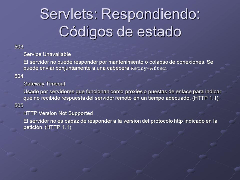 Servlets: Respondiendo: Códigos de estado 503 Service Unavailable El servidor no puede responder por mantenimiento o colapso de conexiones. Se puede e