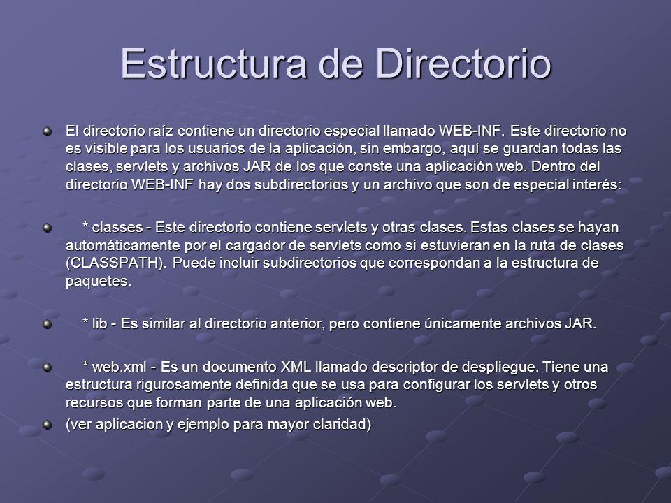 Estructura de Directorio El directorio raíz contiene un directorio especial llamado WEB-INF. Este directorio no es visible para los usuarios de la apl